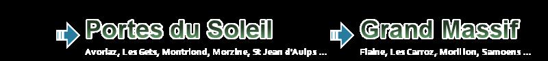 Destinations include Les Portes du Soleil, Grand Massif and Chamonix Valley.